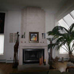 Cedar limestone fireplace
